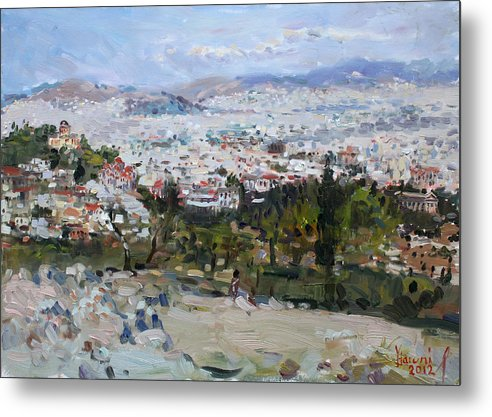 Athens Metal Print featuring the painting View Of Athens From Acropolis by Ylli Haruni