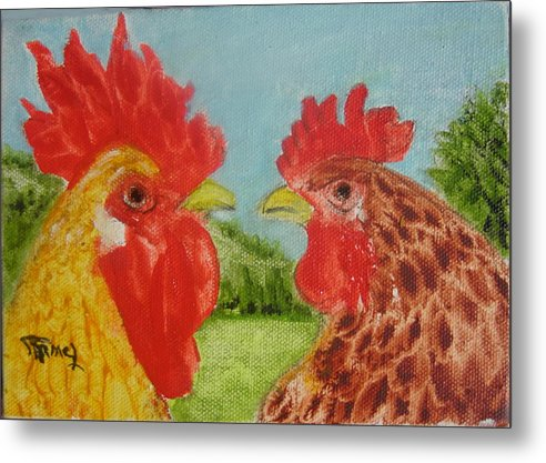 Chiken Metal Print featuring the painting Marriage by Fernando Armel