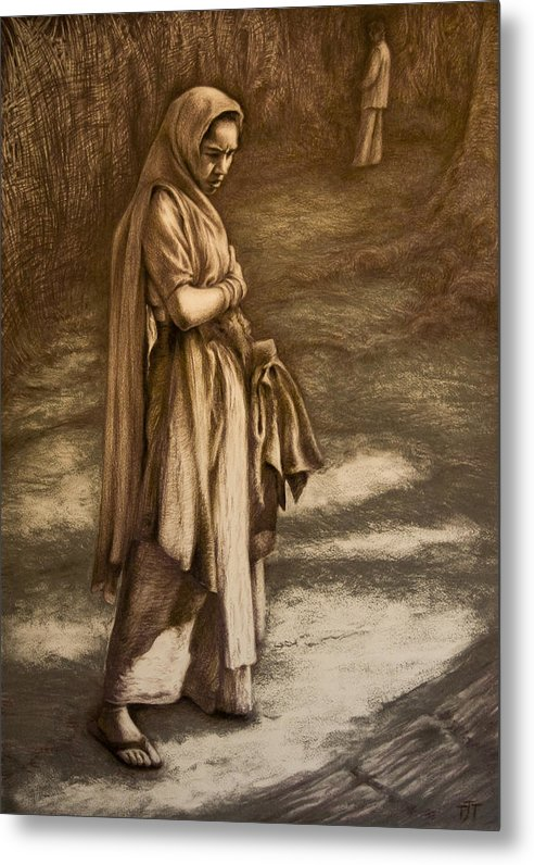 Introspective Seller Dreamer India Market Meeting Dreamscape Metal Print featuring the drawing Streetseller by Tim Thorpe
