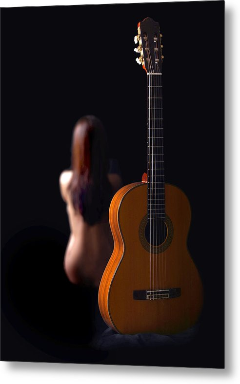Nude Metal Print featuring the photograph Lady And Guitar by Dario Infini