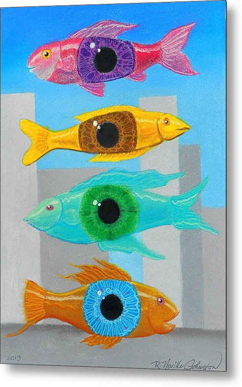 Fish Metal Print featuring the mixed media Orwellian Times I by R Neville Johnston