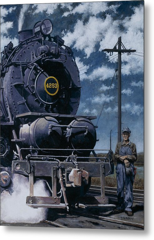 Trains Metal Print featuring the painting A Man and His Machine by David Mittner