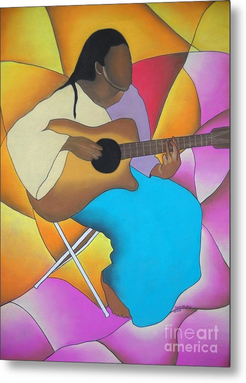 African American Art Metal Print featuring the drawing Guitar Player by Sonya Walker