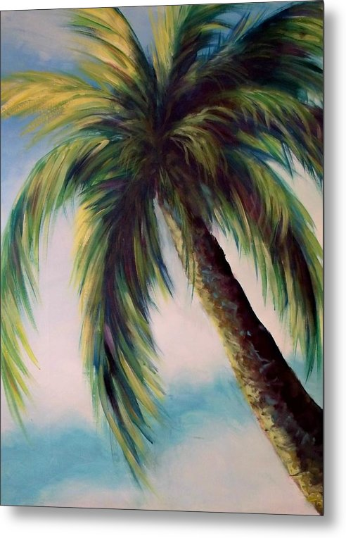 Palm Tree Metal Print featuring the painting Sunlit Palm by Renee Shular