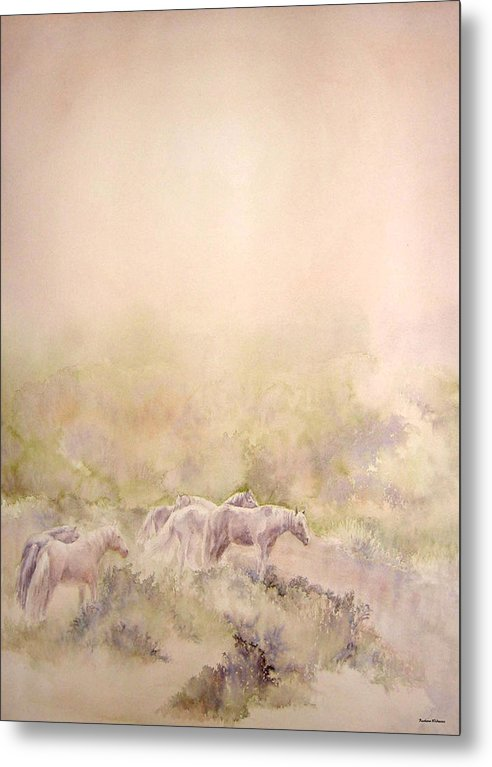 Horses Metal Print featuring the painting Assateague Ponies by Barbara Widmann