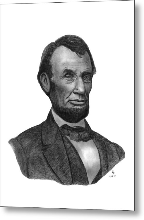 President Metal Print featuring the drawing President Abraham Lincoln by Charles Vogan