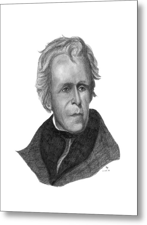 President Metal Print featuring the drawing President Andrew Jackson by Charles Vogan
