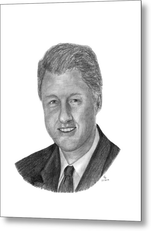 Clinton Metal Print featuring the drawing President Bill Clinton by Charles Vogan