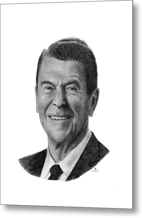 President Metal Print featuring the drawing President Ronald Reagan by Charles Vogan