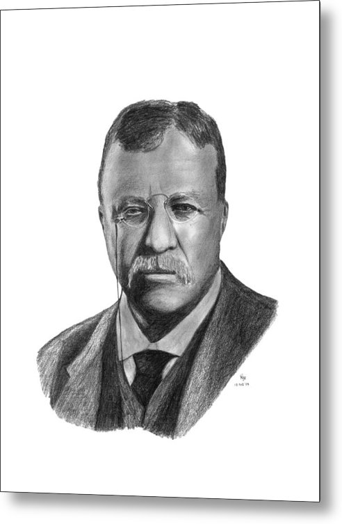 President Metal Print featuring the drawing President Theodore Roosevelt by Charles Vogan