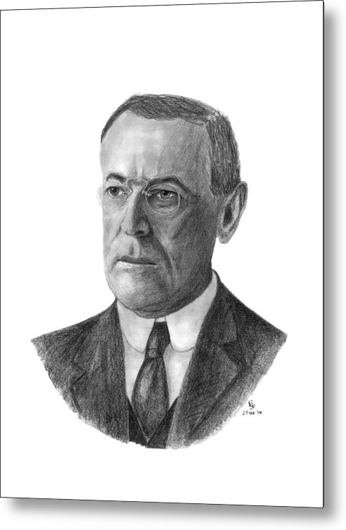 President Metal Print featuring the drawing President Woodrow Wilson by Charles Vogan