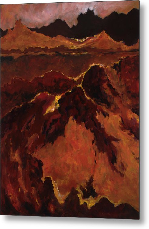 Abstract Metal Print featuring the painting Seismic Shift by Tara Moorman