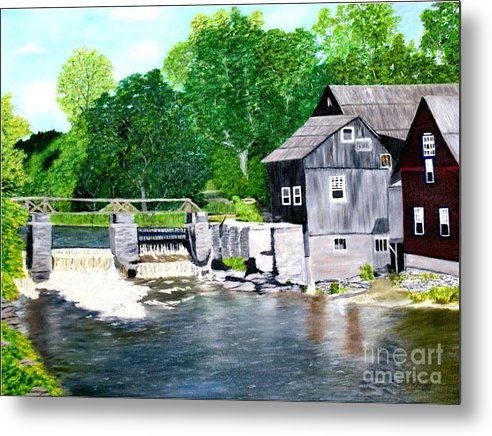 Mill Metal Print featuring the painting Stockdale Apple Cider and Grist Mills by Peggy Holcroft