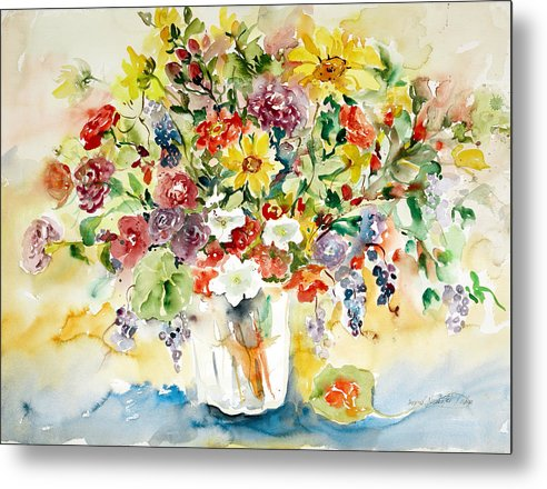 Watercolor Metal Print featuring the painting Arrangement III by Ingrid Dohm