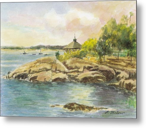Landscape Metal Print featuring the painting Manor Park Gazebo and Rocks by Phyllis Tarlow