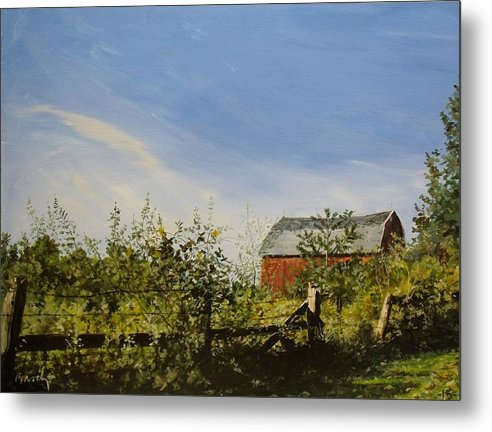 Landscape Metal Print featuring the painting October Fence by William Brody