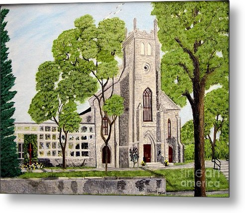 Historic Churches In Ontario Painting Metal Print featuring the painting St.Thomas Anglican Church Belleville Circa1821 by Peggy Holcroft