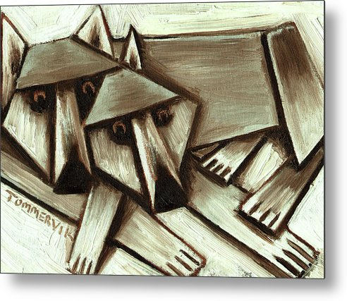 Wolf Metal Print featuring the painting Tommervik Abstract Gray Wolves Art Print by Tommervik