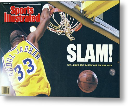 Magazine Cover Metal Print featuring the photograph Slam The Lakers Beat Boston For The Nba Title Sports Illustrated Cover by Sports Illustrated