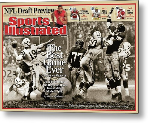Magazine Cover Metal Print featuring the photograph The Best Game Ever 1958 Colts Vs. Giants Sports Illustrated Cover by Sports Illustrated