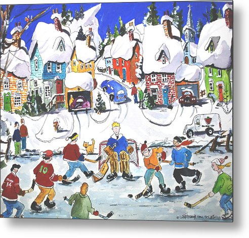 Sports Ice Hockey Children At Play Village Scene Winter Metal Print featuring the painting Shinney by Wilfred McOstrich