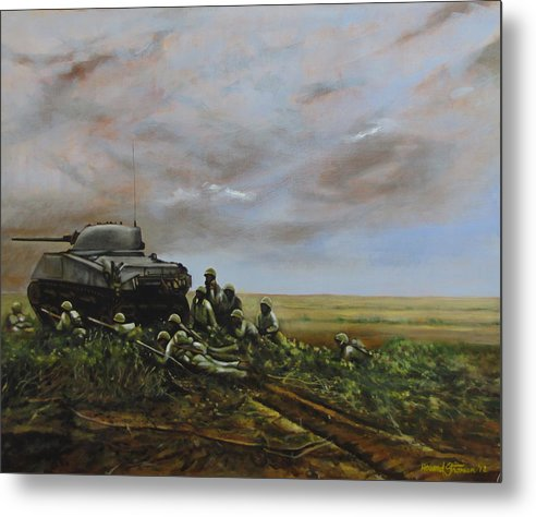 World War Two; Landscape; Soldiers; Military; Us Army; Combat; Infantry; Tank; Riflemen; War Metal Print featuring the painting Field Of Flowers by Howard Stroman