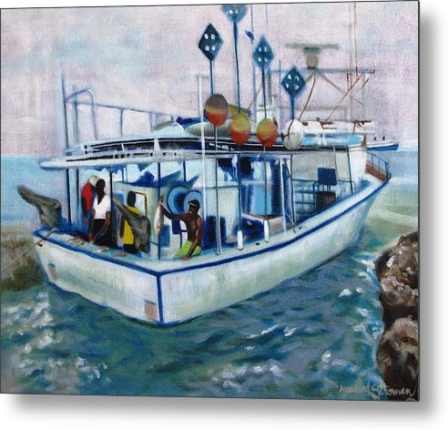 Fishing;boat;water;vacation;recreation;fishermen;aquatic;boat Painting;fishing Painting; Metal Print featuring the painting Fishermen by Howard Stroman