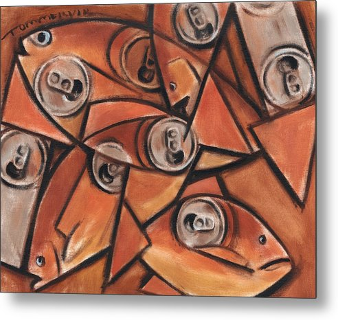 Fish Metal Print featuring the painting Tommervik Fish and Cans Art print by Tommervik