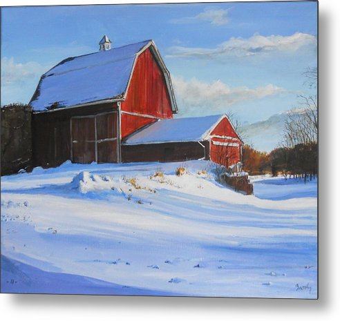 Barn Metal Print featuring the painting Suppertime by William Brody