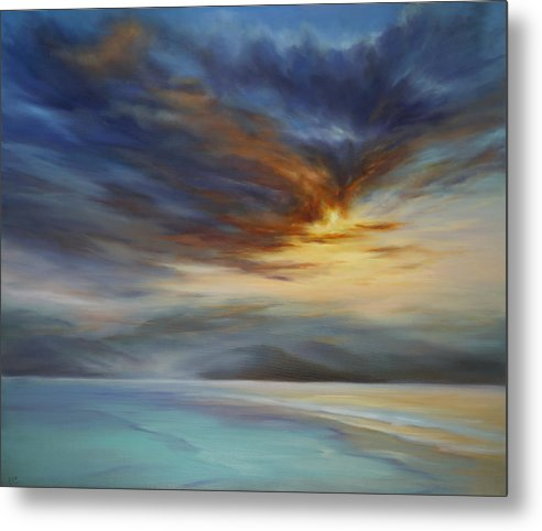 Hawaii Metal Print featuring the painting Blue Mist on the North Shore by Cheryl Kline