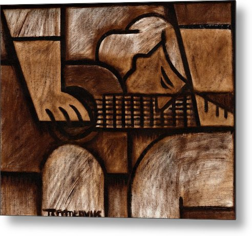 Guitar Metal Print featuring the painting Tommervik Man Playing Acoustic Guitar Art by Tommervik
