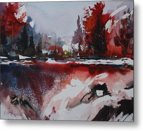 Forest Abstract Lakes Snow Winter Metal Print featuring the painting Winter Firerworks by Wilfred McOstrich