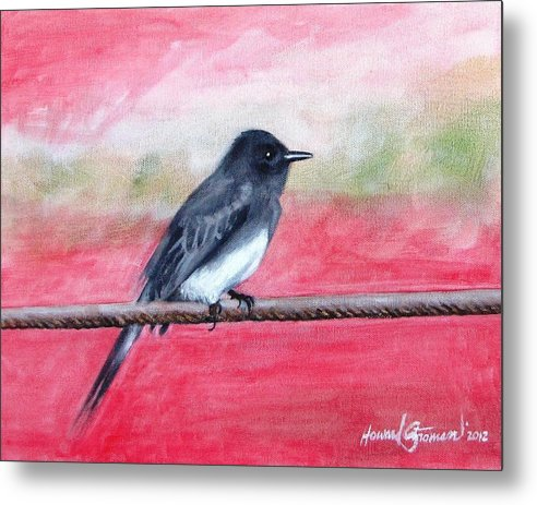 Wild Life Metal Print featuring the painting Black Bird by Howard Stroman