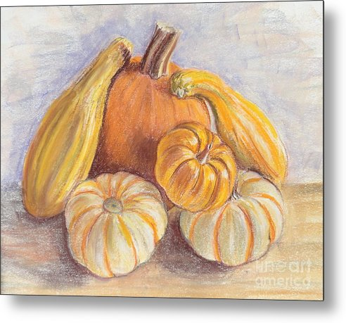 Pumpkin Composition Metal Print featuring the painting Halloween pumpkins by Ziba Bastani