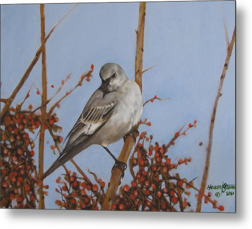 Bird; Fowl; Wildlife; Outdoor Scene; Landscape; Nature;animal;bird Painting Metal Print featuring the painting Winter Bird by Howard Stroman