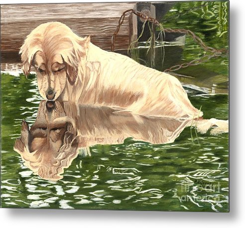 Dog Paintings Metal Print featuring the painting Reflections of Molly by Peggy Holcroft