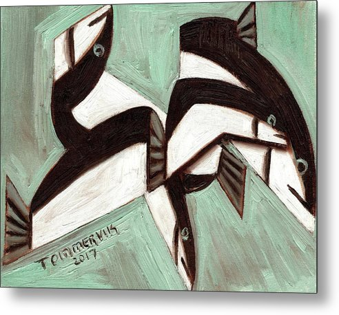 Fish Metal Print featuring the painting Tommervik Abstract Fish by Tommervik