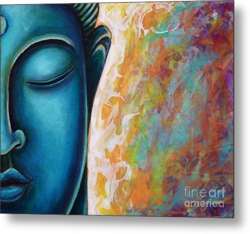 Buddha Metal Print featuring the painting Blue Buddha by Gayle Utter
