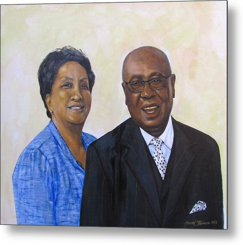 Portrait Metal Print featuring the painting Pastor Donahue and Yvonne Green by Howard Stroman