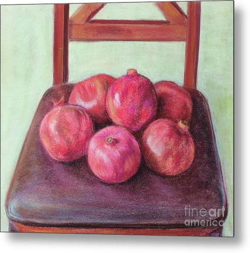 Pomegranates Metal Print featuring the painting Pomegranates on a chair by Ziba Bastani