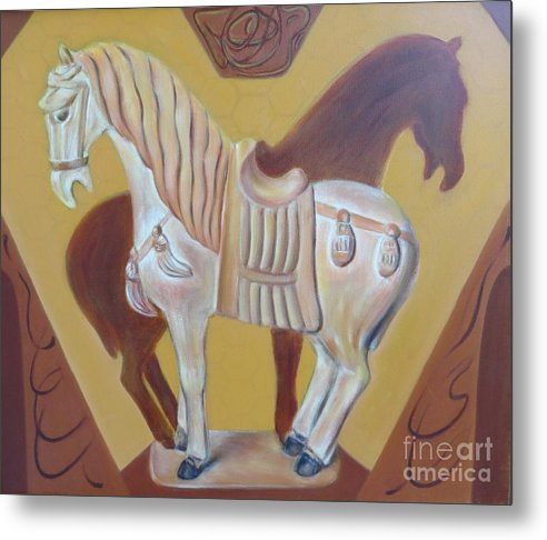 Ancient Horse Metal Print featuring the painting Ancient horse sculpture by Ziba Bastani