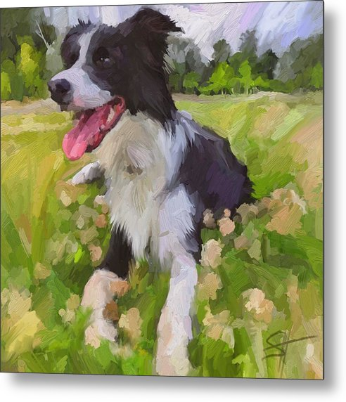 Border Collie Metal Print featuring the digital art Collie Flowers by Scott Waters