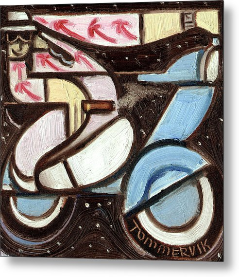 Miami Metal Print featuring the painting Miami Beach Man Riding A vespa in Outer Space Art Print by Tommervik