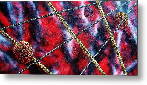 Abstract Metal Print featuring the painting Continuum IV red sky by Micah Guenther
