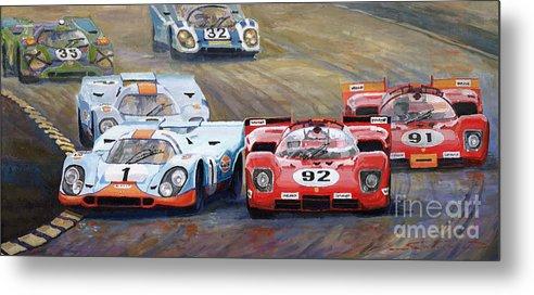 Acrilic On Canvas Metal Print featuring the painting Ferrari vs Porsche 1970 Watkins Glen 6 Hours by Yuriy Shevchuk