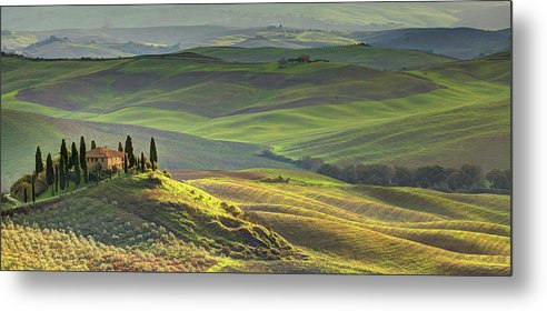 Scenics Metal Print featuring the photograph First Light In Tuscany by Maurice Ford