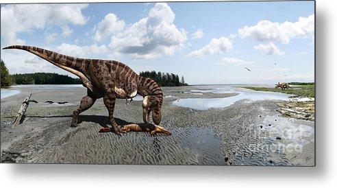 Dinosaur Metal Print featuring the digital art Tyrannosaurus enjoying seafood - wide format by Julius Csotonyi