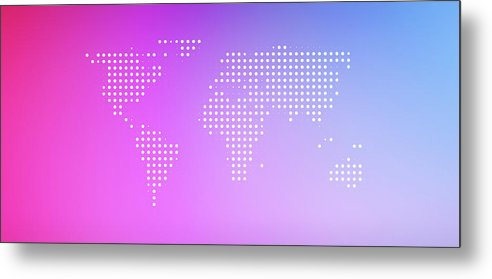 Panoramic Metal Print featuring the digital art World Map In Dots Against An Abstract by Ralf Hiemisch