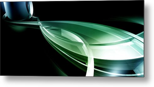 Horizontal Metal Print featuring the digital art Abstract Lines, Leaf Shape by Ralf Hiemisch