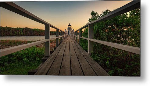 Bath Maine Lighthouse Sunset Coast Ocean Metal Print featuring the photograph Doubling at Dusk by David Hufstader